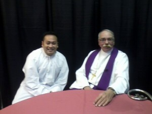 Fr. Leo Patalinghug and Bishop Frederick Campbell before Mass at the Columbus Catholic Women's Conference on Saturday.