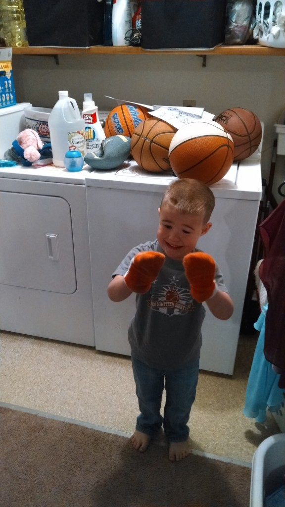 Orange is a religion with this one. (And no, I did NOT wash all those basketballs in my washer.)