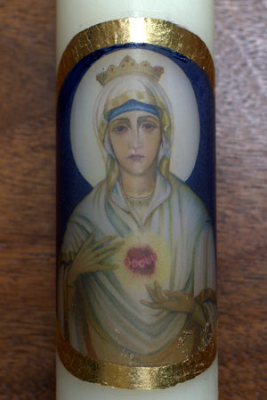 Gina Switzer is making this Blessed Mother baptismal candles - it would be the perfect gift for a baptism this year!
