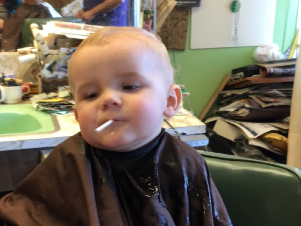 As it happens, the mnimancub got a haircut...and a lollipop.