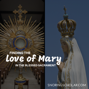 I truly started understanding how much Jesus loves me when I got to know Mary better. She has truly led me to her Son. *Finding the Love of Mary in the Blessed Sacrament, by Sarah Reinhard at Snoring Scholar